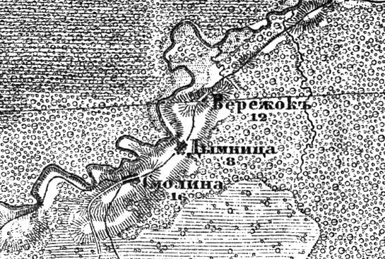 Деревня Смолино (Вараватица) на трехверстной военно-топографической карте Федора Федоровича Шуберта, 1855 год.