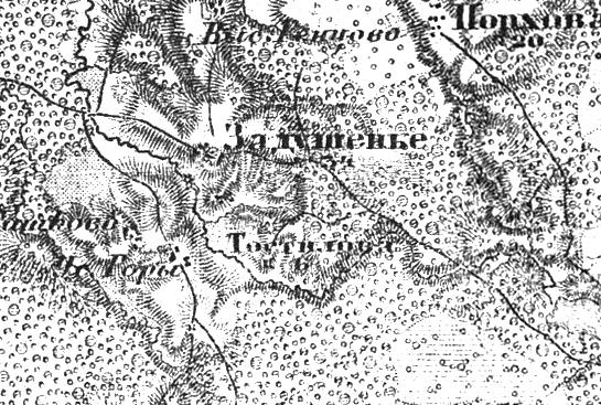 Деревня Гостилово на трехверстной военно-топографической карте Федора Федоровича Шуберта, 1855 год.