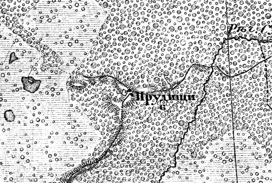 Деревня Прудищи на трехверстной военно-топографической карте Федора Федоровича Шуберта, 1855 год.