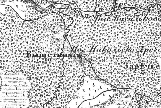 Деревня Вышитино на трехверстной военно-топографической карте Федора Федоровича Шуберта, 1855 год.