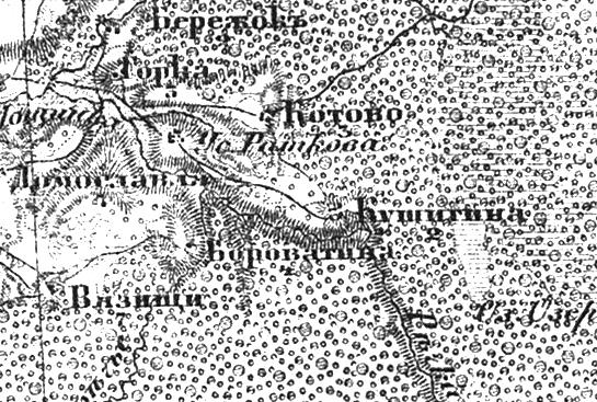 Деревня Кушигино (Кушино) на трехверстной военно-топографической карте Федора Федоровича Шуберта, 1855 год.