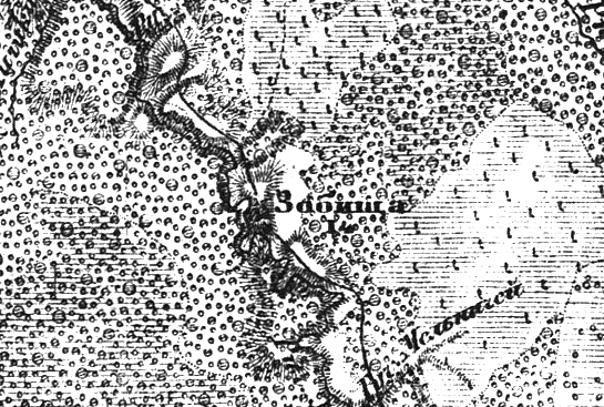 Деревня Зобищи (Зябищи) на трехверстной военно-топографической карте Федора Федоровича Шуберта, 1855 год.