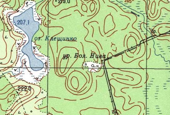 Деревня Белый Бор на трехверстной военно-топографической карте Федора Федоровича Шуберта, 1855 год.